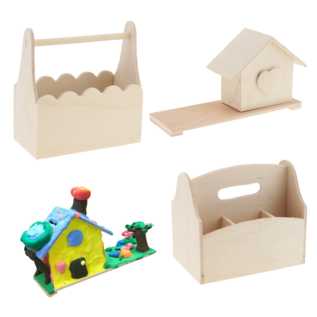 Special Design Money Boxes Wooden Basket House Pen Container Pattern handmade wooden Craft For Painting Popular Kids Gifts