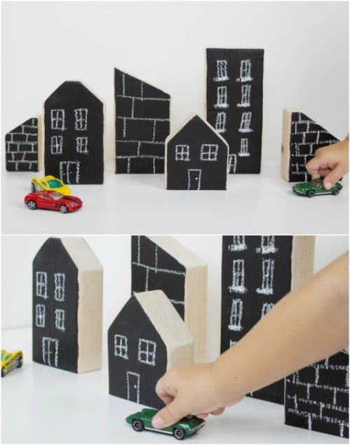 Easy Wooden Chalkboard City Blocks