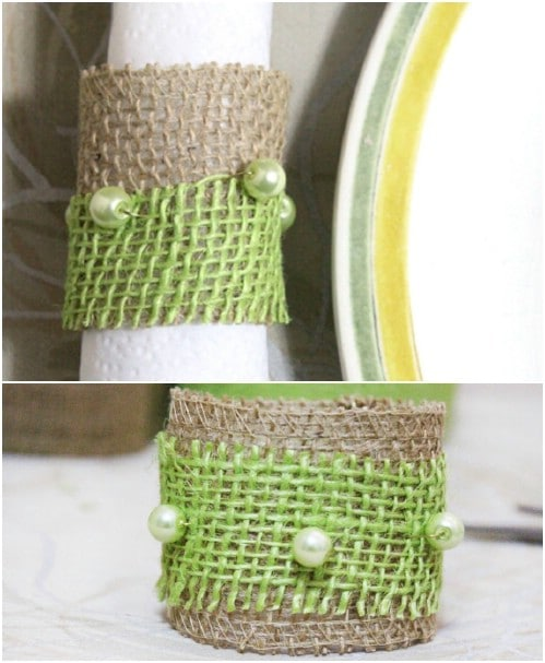 Rustic Burlap And Bead Napkin Ring