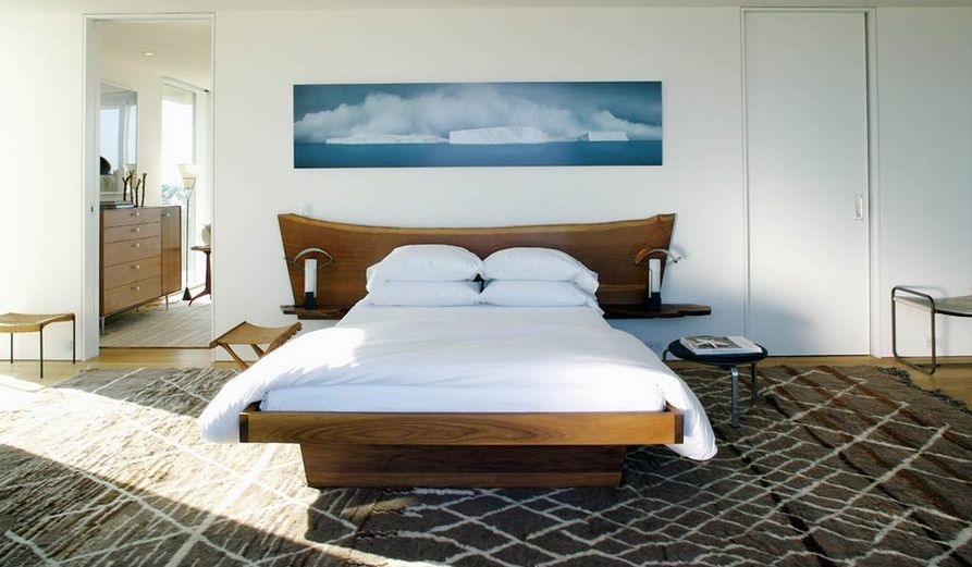 Solid wood bedroom furniture and wall art above it