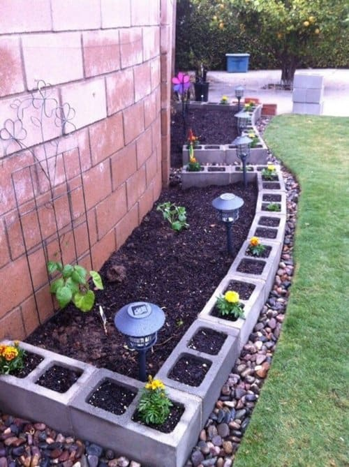 CINDER BLOCK GARDEN EDGING