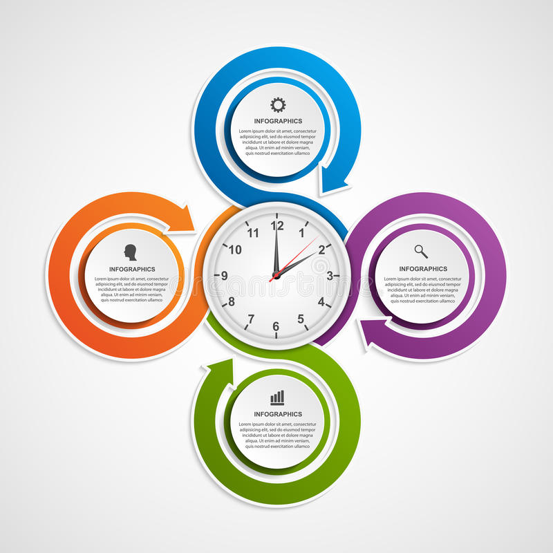 Abstract infographic with colorful arrows and clock in the centre. Design template. royalty free illustration