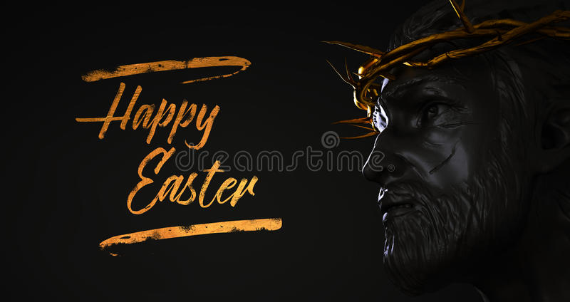 Happy Easter Text Jesus Christ Statue with Gold Crown of Thorns royalty free illustration