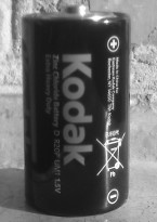 Black-and-white photo of Kodak battery